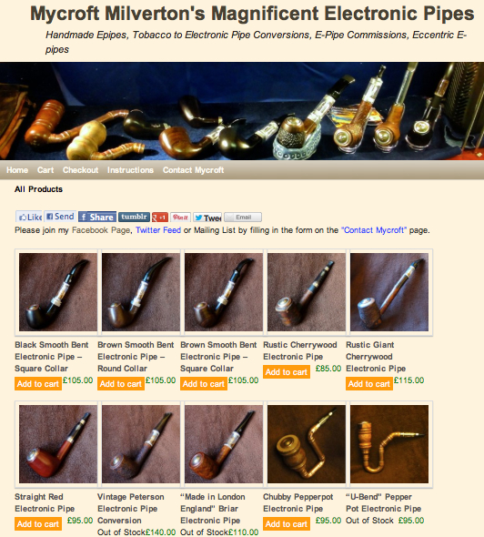 Magnificent Electronic Pipes epipes e-pipes vaping mods smoking steampunk